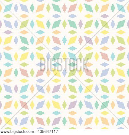 Geometric Funky Seamless Pattern. Rhombus Texture, Elegant Floral Lattice, Mesh, Diamonds. Oriental