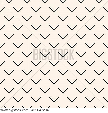 Monochrome Minimalistic Seamless Pattern With Geometric V-shaped Figure. Abstract Vector Pattern Des