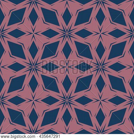 Abstract Floral Seamless Pattern. Vector Navy Blue And Pink  Background. Geometric Leaf Ornament. De
