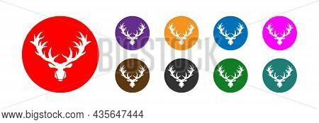 Deer Head And Horns, Icon In Different Colors. Vector.