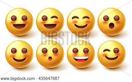 Emoji Blushing Emoticon Vector Set. 3d Emoticons In Winking, Blushing And Smiling Face Emoticon Char