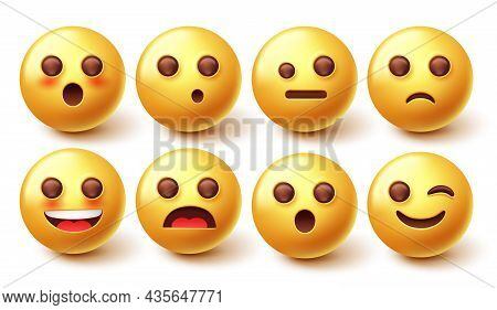 Emoji Character Vector Set. 3d Emoticon In Happy And Surprised Facial Expression Isolated In White B