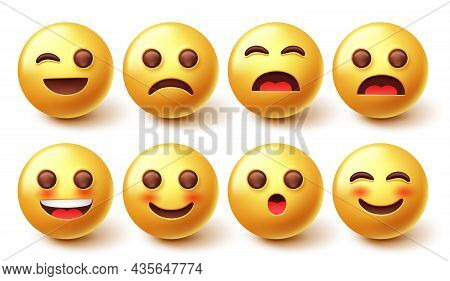 Emojis Characters Vector Set. 3d Emoticon Design Collection With Facial Emotion Expression Isolated