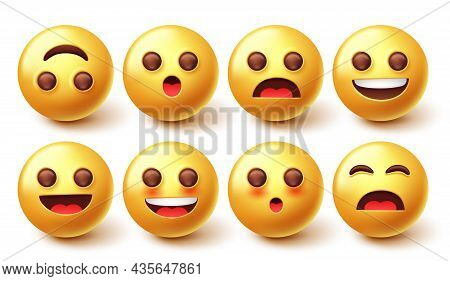 Emoji Characters Vector Set. Emoticon 3d Graphic Design In Happy, Jolly And Surprised Cute Facial Em