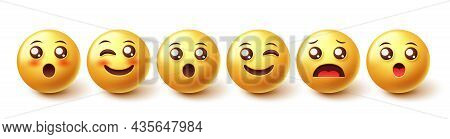 Emojis Character Vector Set. Emoji 3d Emoticons Happy, Blushing And Surprised In Yellow Faces Collec