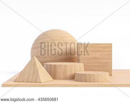 Vareity Shape Of Wooden Geomatry Isolated On White Background 3d Render Illustration