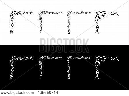 Decorative And Hand Drawn Vintage Corners. Calligraphic Borders Classic Design Elements For Wedding