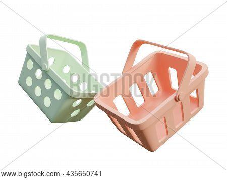 Minimal Style Colorful Shopping Basket Isolated On White Background 3d Render Illustration