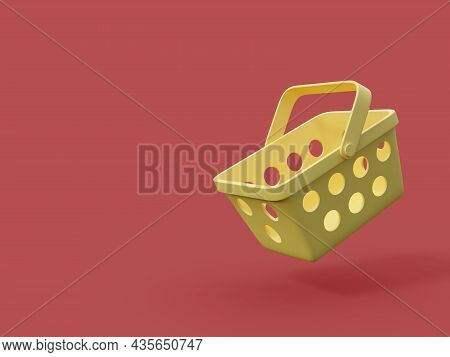 Minimal Style Yellow Shopping Basket On Red Background With Copy Space 3d Render Illustration
