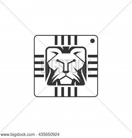 Unique Lion Head And Integrated Circuit Or Tech Symbol Logo Design Vector Icon Illustration Inspirat