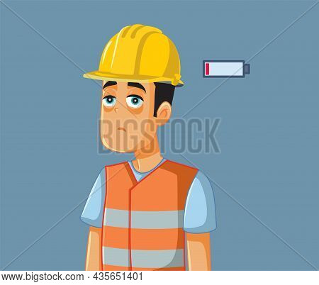Overworked Exhausted Construction Worker Vector Cartoon Illustration