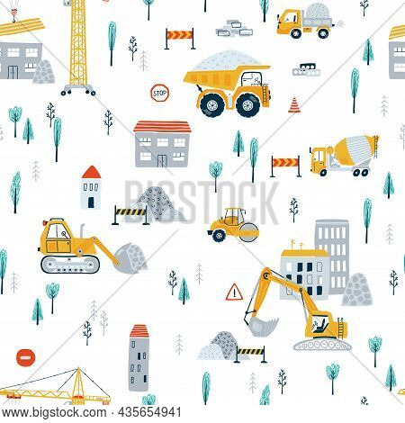 Cute Children's Seamless Pattern With Yellow Car Dump Truck, Crane, Road, Signs, House On White Back