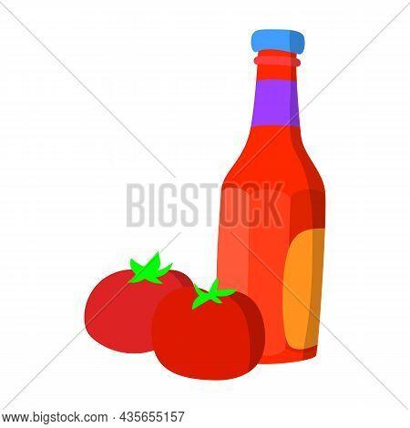 Tomato Ketchup Bottle Fresh Tomatoes Vector Illustration, Flat Design