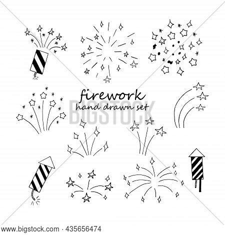 Fireworks Set Hand Drawn Doodle. Vector, Minimalism, Monochrome. Icon, Sticker. Celebration, New Yea
