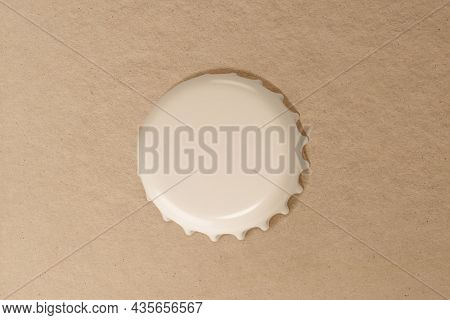 3D beige bottle cap, blank background with design space