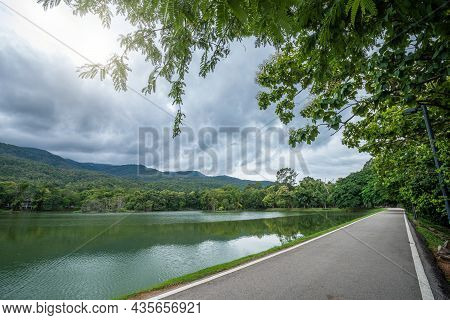Asphalt Black Grey Road Landscape Lake Views At Ang Kaew Chiang Mai University In Nature Forest Moun