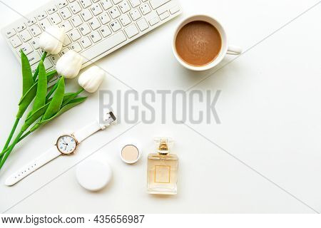 Makeup Beauty Cosmetic Fashion In Office. Cosmetics Woman Working With Keyboard And Bag Product Faci