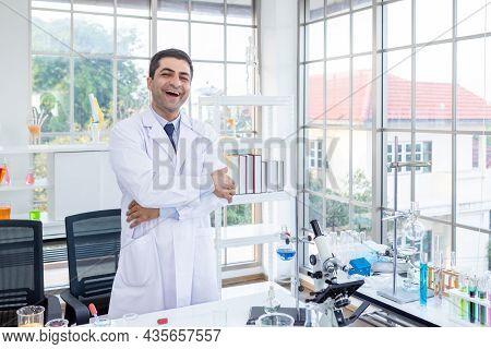 Positive And Joyful Funny Crazy Joke Emotions Confident Scientist Portrait Of Happy Male Scientist K
