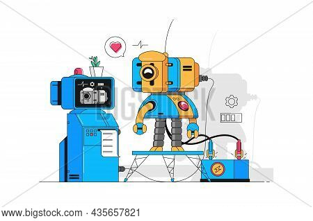 Funny Medical Robot Vector Illustration. Smart Cyborg With Friendly Face Flat Style. Clever Machine.