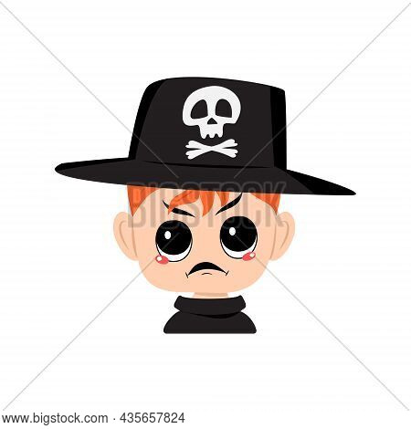 Avatar Of Boy With Red Hair, Angry Emotions, Grumpy Face, Furious Eyes In Hat With Skull. Cute Kid W