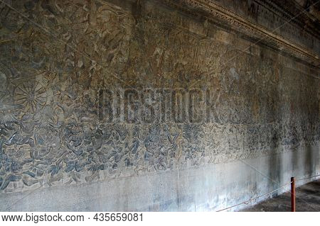 Sculpture Carving Figure Story Khmer Empire Angel Deity Hindu And Buddhist Culture On Wall Of Angkor