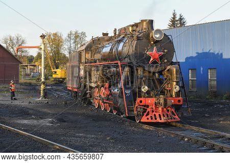 Sortavala, Russia - October 07, 2021: Soviet Mainline Freight Steam Locomotive
