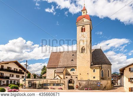 Natz,italy - July 11,2021 - View At The Church Of Saint Giacomo And Saint Philip In Natz. Naz Is A C