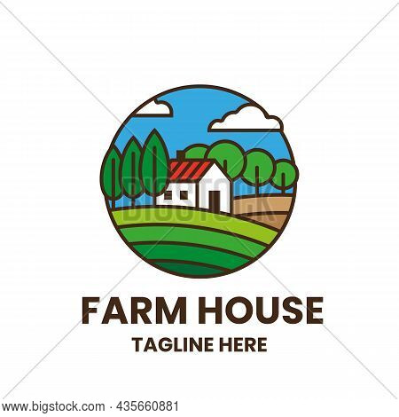 Farmhouse Logo Template. Colorful Emblem With Field, Trees And House. Stock Vector Illustration.