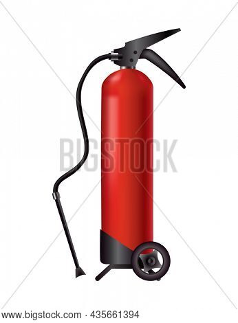 Red fire extinguisher. Isolated portable fire-fighting unit with hose and whels. Firefighter tool for flame fighting attention. Portable fire extinguishing equipment