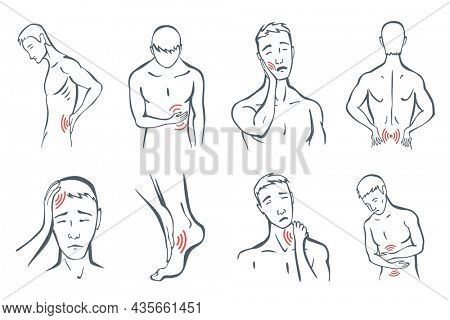 Body parts pain set. Man feels pain location in different part of body with red line icons. Ache in head, neck or tooth pain. foci of pain or trauma symbols, grey art line illustration