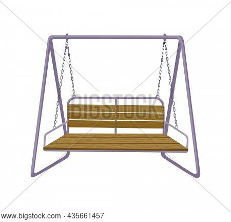 Garden swing bench. Classic outdoor garden wooden hanging furniture. Wooden porch swing hanging on frame with chains. Patio element for relax
