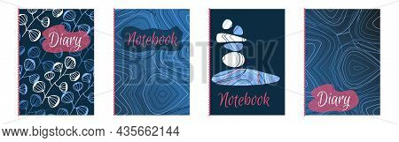 Set A4 Templates For Notebook. Vector Modern Design Diary, Planning, Notepad.