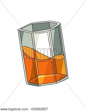 Glass of whiskey. Realistic glass with smokey scotch whiskey isolated on white background. Glass and drink