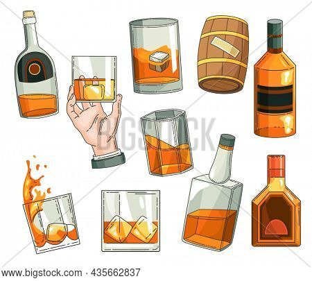 Whiskey advertising design elements. Advertising design symbols set. Glass bottle, man hand holding glass of scotch with ice cubes, wooden alcohol barrel icon collection. alcohol products