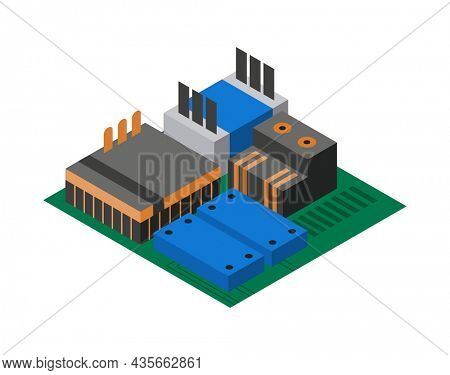 Isometric circuit board with electronic components. Computer chip technology processor circuit and computer motherboard information system. Electronic 3D isolated composition