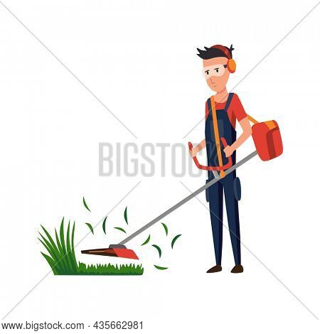 Professional gardener working on backyard and mowing lawn with electric mower. Male handyman cutting grass in garden. Colored flat cartoon  illustration of professional worker