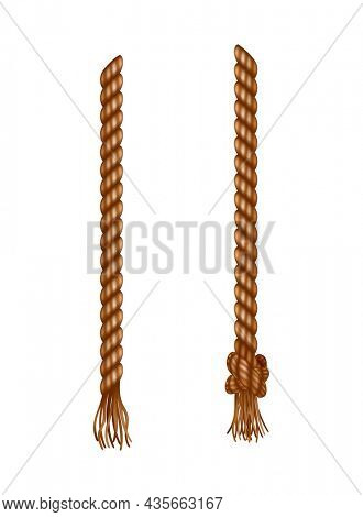 Isolated hanging ropes with tassels. Realistic knotted nautical thread. Nautical or marine vertical fiber. Hemp strings with brush and frayed knot. Textile tassel hang at rope