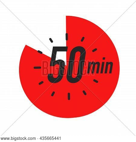 50 Minutes Timer Symbol Red Color Style Isolated On White Background. Clock, Stopwatch, Cooking Time