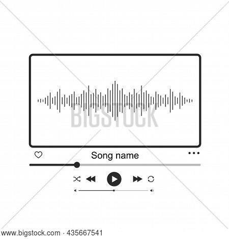 Sound Wave Music Player Interface. Audio Player, Video Player, Modern Thin Lines Design.
