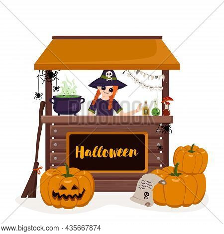 Girl In Pointed Witch Hat At Counter Of Halloween Stall With Pumpkins, Cauldron, Potion And Spiders.