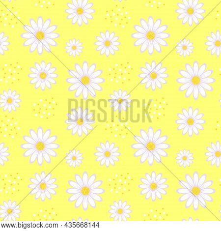 Seamless Pattern With Chamomile Flowers On Yellow Background. Daisy Flowers Floral Ornament. Vector