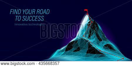 High Mountain Peak 3d Landscape. Technology Structure Grid Abstract Goal Reaching. Business Success