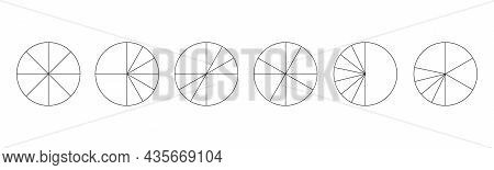 Graphic Circles Divided In 8 Segments. Pie Or Pizza Round Shapes Cut In Different Eight Slices. Simp