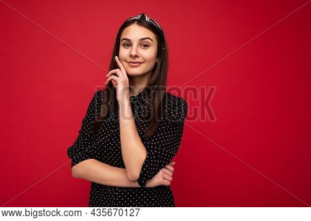 Portrait Photo Of Young Charming Beautiful Happy Smiling Brunette Woman With Sincere Emotions Wearin