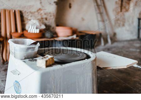 Grottaglie, Italy - August 2021: Pottery Lathe In An Artisan's Workshop In Grottaglie, Puglia