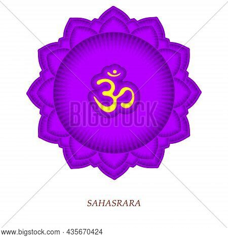 The Seventh Chakra Sahasrara. The Crown Or Highest Chakra With Hindu Sanskrit. Purple Is A Flat Symb