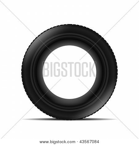 Tyre Over White Background