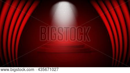 3d Winner Podium, Red Carpet Staircase, Celebrity Party Award Concept. Banner Hollywood Event, Films