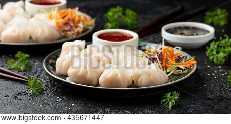 Traditional Asian Prawn Or Shrimp Dumplings Hakau, Ha Kauw Or Har Gow. Served With Cabbage, Carrot S