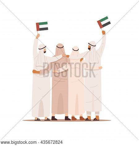Back View Of Arab People Hugging Together And Holding Flag Of United Arab Emirates, Vector